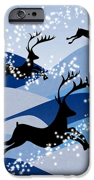 Animation iPhone Cases - Christmas card 2 iPhone Case by Mark Ashkenazi