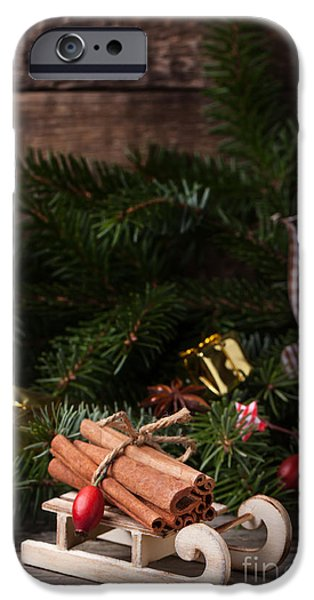 Ornament Pyrography iPhone Cases - Christmas card with sled and cinnamon iPhone Case by Natasha Breen