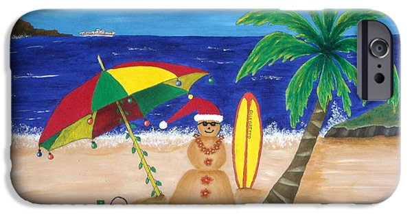 Sand Castles iPhone Cases - Christmas In Kona iPhone Case by Pamela Allegretto