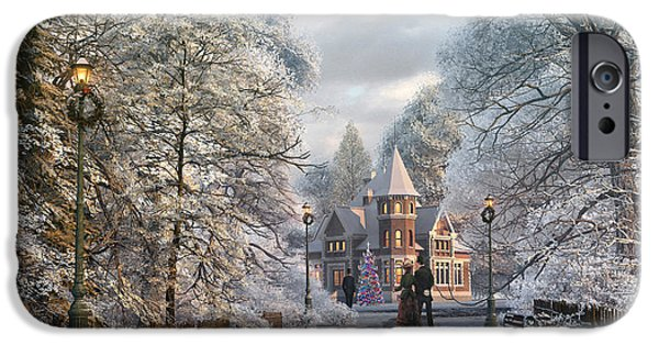 Rural Digital Art iPhone Cases - Christmas Invitation iPhone Case by Dominic Davison