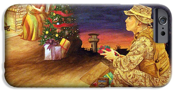 Iraq Drawings iPhone Cases - Christmas on Deployment iPhone Case by Annette Redman