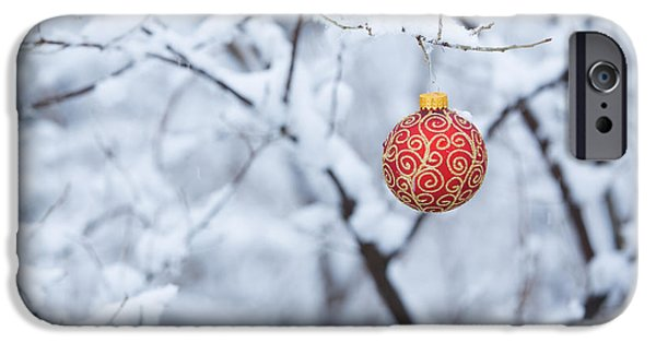 Filigree iPhone Cases - Christmas Ornament in the Snow iPhone Case by Diane Diederich