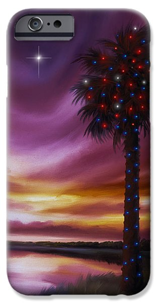 James Christopher Hill iPhone Cases - Christmas Palmetto Tree iPhone Case by James Christopher Hill