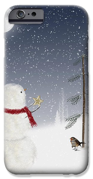 Snowy Night Mixed Media iPhone Cases - Christmas Snowman iPhone Case by Maria Dryfhout
