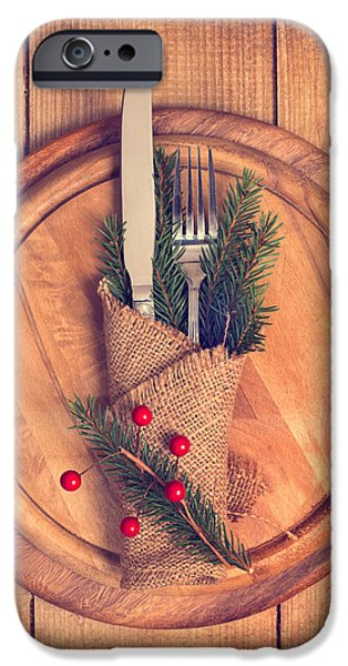 Christmas iPhone Cases - Christmas Table Setting iPhone Case by Amanda And Christopher Elwell