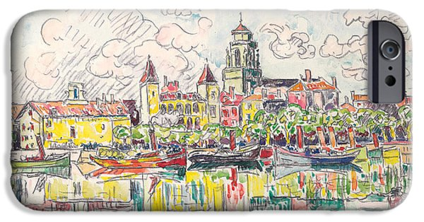 River View Drawings iPhone Cases - Ciboure iPhone Case by Paul Signac