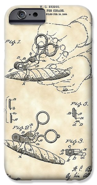 Hookah iPhone Cases - Cigar Cutter Patent 1906 - Vintage iPhone Case by Stephen Younts