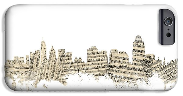 Sheets iPhone Cases - Cincinnati Ohio Skyline Sheet Music Cityscape iPhone Case by Michael Tompsett