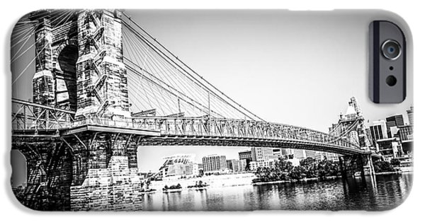 Waterfront Photographs iPhone Cases - Cincinnati Roebling Bridge Black and White Picture iPhone Case by Paul Velgos