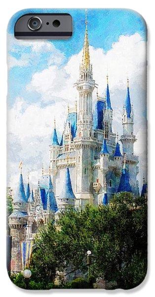 Magic Kingdom iPhone Cases - Cinderella Castle iPhone Case by Sandy MacGowan