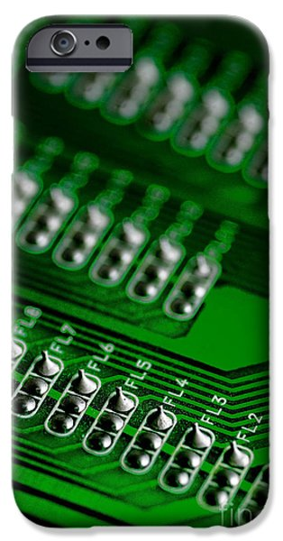 Circuit Board Bokeh iPhone Case by Amy Cicconi