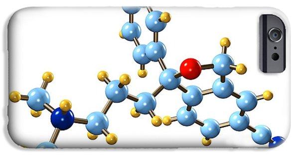 Antidepressant iPhone Cases - Citalopram Antidepressant Molecule iPhone Case by Dr. Mark J. Winter