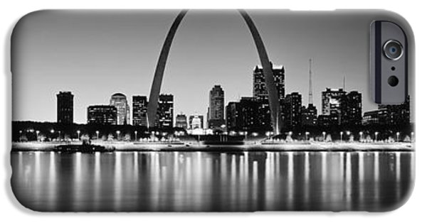 Recently Sold -  - Built Structure iPhone Cases - City Lit Up At Night, Gateway Arch iPhone Case by Panoramic Images