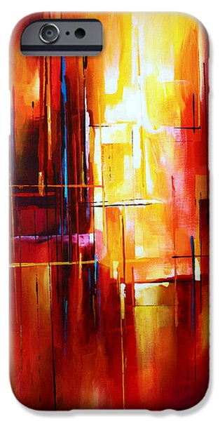 Abstract Expressionist iPhone Cases - City of Fire iPhone Case by Michael Lang