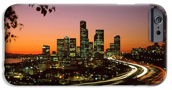 Seattle iPhone Cases - City of Seattle skyline iPhone Case by King Wu