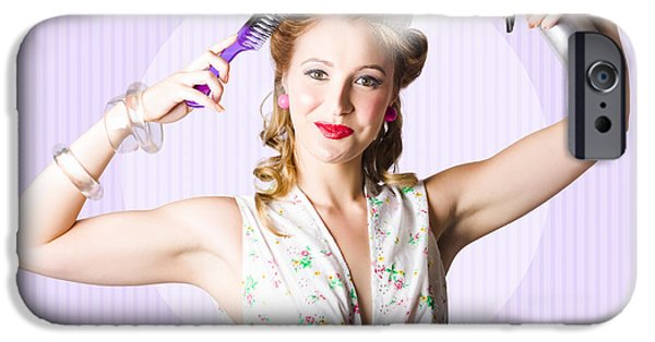 1950s Portraits iPhone Cases - Classic 50s Pinup Girl Combing Hair Style iPhone Case by Ryan Jorgensen