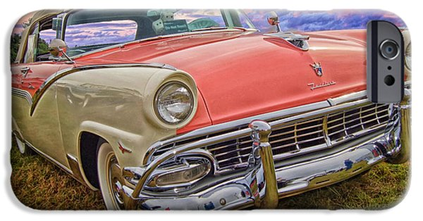1950s Portraits iPhone Cases - Classic Ford Fairlane  iPhone Case by Barbara Jackson