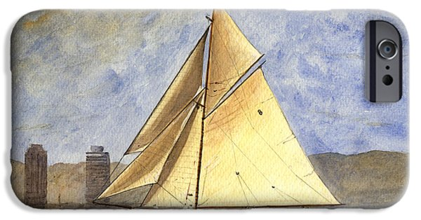 Sailing iPhone Cases - Classic yacht Barcelona iPhone Case by Juan  Bosco