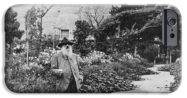 Painter Photo Photographs iPhone Cases - Claude Monet in his garden at Giverny iPhone Case by French School