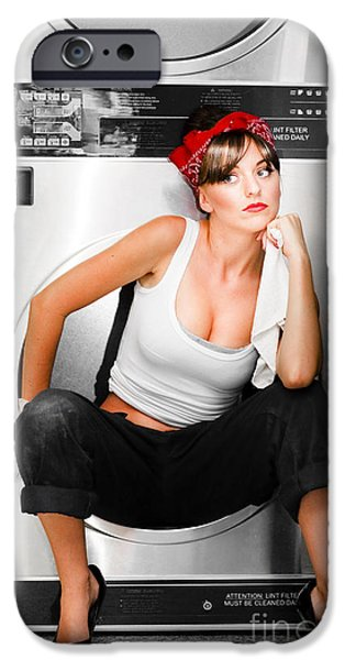 Hair-washing iPhone Cases - Cleaning Lady With A Dream iPhone Case by Ryan Jorgensen