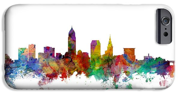 Cleveland iPhone Cases - Cleveland Ohio Skyline iPhone Case by Michael Tompsett