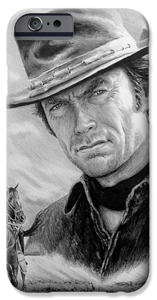 Movie Star Drawings iPhone Cases - Clint Eastwood American Legend iPhone Case by Andrew Read