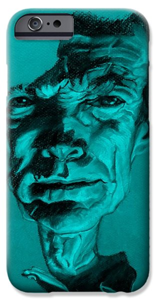 Culture Pastels iPhone Cases - Clint Eastwood Turquoise iPhone Case by Rob Hans