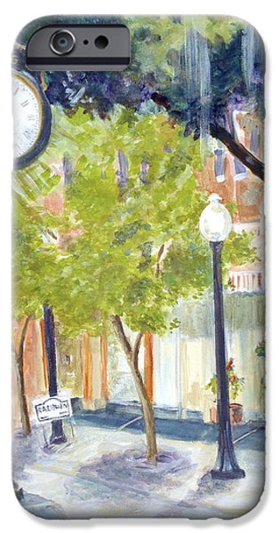 Park Scene Paintings iPhone Cases - Clock in the Park iPhone Case by Linda Kegley
