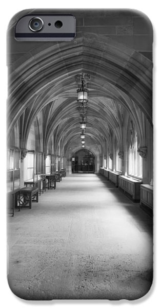 Sterling iPhone Cases - Cloister Hallway Inside Sterling Memorial Library - Yale University iPhone Case by Mountain Dreams