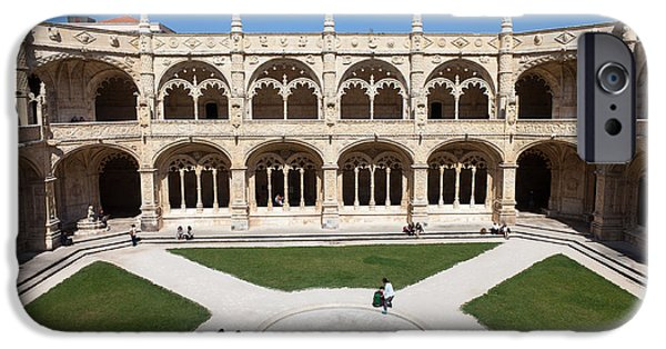 Inner World iPhone Cases - Cloister of the Jeronimos Monastery in Lisbon iPhone Case by Artur Bogacki