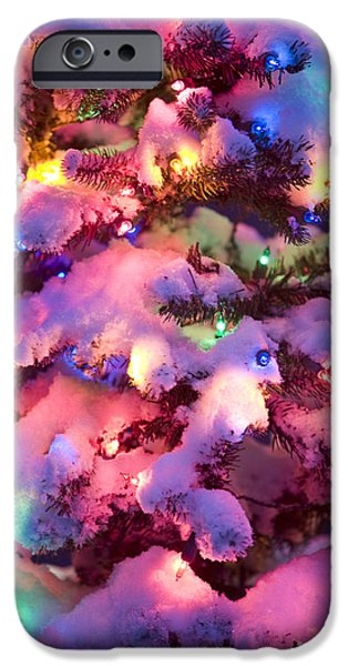 Snowy Night iPhone Cases - Close Up Of A Multi-colored Christmas iPhone Case by Kevin Smith