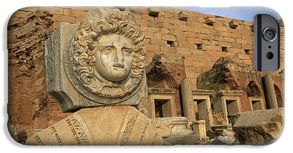 Leptis Magna iPhone Cases - Close-up Of A Statue In An Old Ruined iPhone Case by Panoramic Images