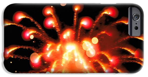 Fireworks iPhone Cases - Close Up Of Ignited Fireworks iPhone Case by Panoramic Images