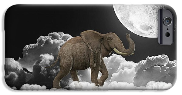 Elephants iPhone Cases - Cloudy iPhone Case by Marvin Blaine