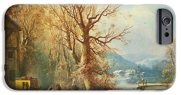 Christmas Eve Paintings iPhone Cases - Coach and Horses in a Snowy Landscape iPhone Case by Guido Hampe