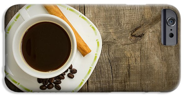 Pause iPhone Cases - Coffee Cup with beans and cinnamon stick iPhone Case by Aged Pixel