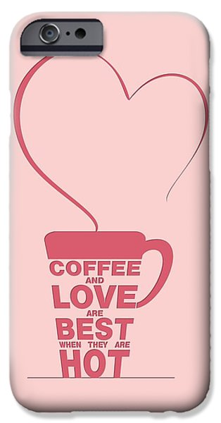 Framed Digital iPhone Cases - Coffee Love quote Typographic print art iPhone Case by Lab No 4 - The Quotography Department