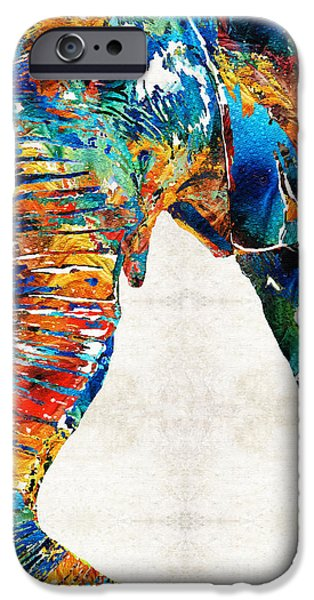 Safari Prints iPhone Cases - Colorful Elephant Art by Sharon Cummings iPhone Case by Sharon Cummings