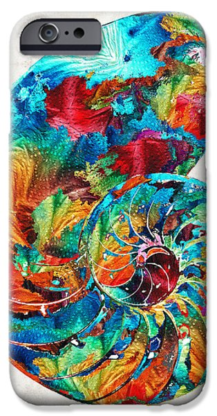 Fractal Paintings iPhone Cases - Colorful Nautilus Shell by Sharon Cummings iPhone Case by Sharon Cummings