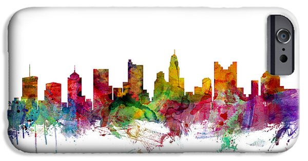 United iPhone Cases - Columbus Ohio Skyline iPhone Case by Michael Tompsett