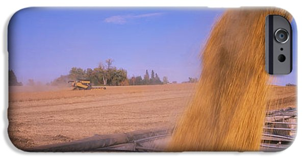 Combine iPhone Cases - Combine Harvesting Soybeans In A Field iPhone Case by Panoramic Images