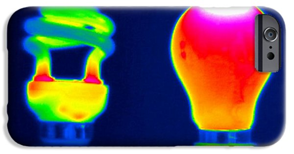 Electrical Equipment Photographs iPhone Cases - Comparing Light Bulbs, Thermogram iPhone Case by Tony McConnell