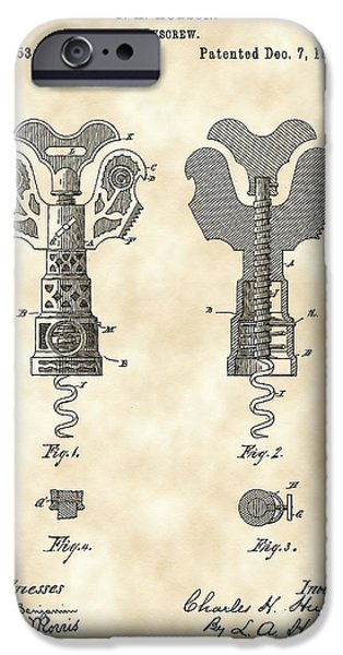 Recently Sold -  - Red Wine iPhone Cases - Corkscrew Patent 1886 - Vintage iPhone Case by Stephen Younts