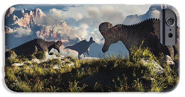 Mounds Digital iPhone Cases - Corythosaurus Nesting Ground Set iPhone Case by Mark Stevenson