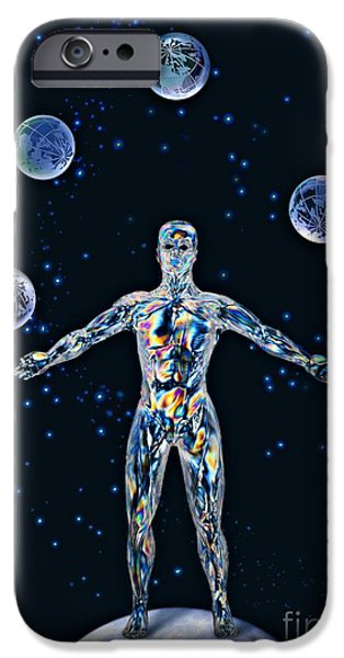 Juggling Photographs iPhone Cases - Cosmic Man Juggling Worlds, Artwork iPhone Case by Paul Biddle