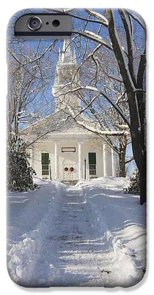 Winter iPhone Cases - Country Church In Winter Wiscasset Maine iPhone Case by Keith Webber Jr