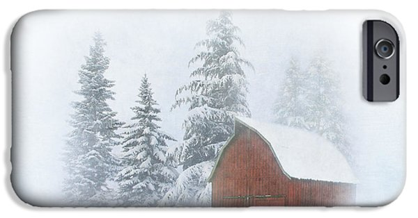 Red Barn In Winter Photographs iPhone Cases - Country Winter iPhone Case by Angie Vogel
