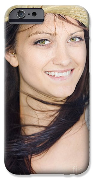 Youthful iPhone Cases - Country Woman In Cowgirl Hat iPhone Case by Ryan Jorgensen