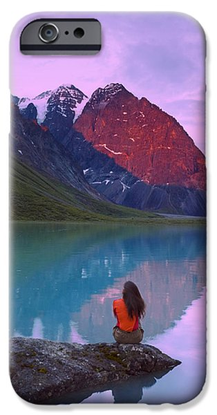 Women Together iPhone Cases - Couple Sitting On Rock Enjoying Scenery iPhone Case by Michael DeYoung