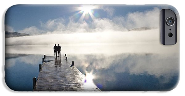 Women Together iPhone Cases - Couple Standing On A Dock And iPhone Case by Kevin Smith